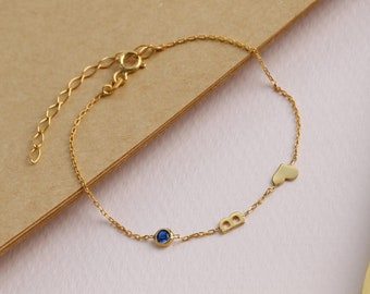 14k Solid Gold initial Bracelet - Custom Birthstone Bracelet - Gift for Her - Birthday Gift - Personalized Gift - 1