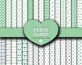 Papéis digitais de Corações Verde Claro, Light Green Hearts Digital Paper, Digital Scrapbooking Paper