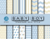 Papéis digitais Baby Boy, Blue Baby Boy Digital Paper, Digital Scrapbooking Paper, Baby Boy Shower