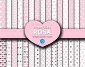 Papéis digitais de Corações Rosa, Pink Hearts Digital Paper, Digital Scrapbooking Paper