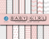 Papéis digitais Baby Girl, Pink Baby Girl Digital Paper, Digital Scrapbooking Paper, Baby Girl Shower