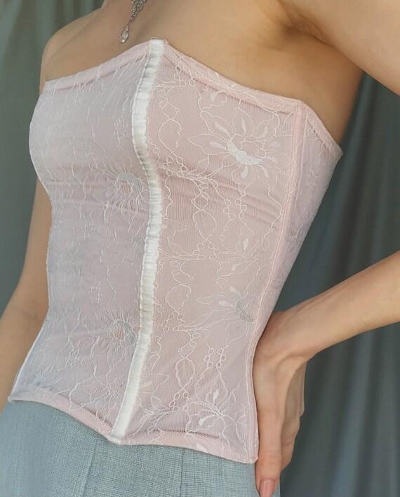 Vintage y2k romantic lace corset top XS, 00s retr… - image 6