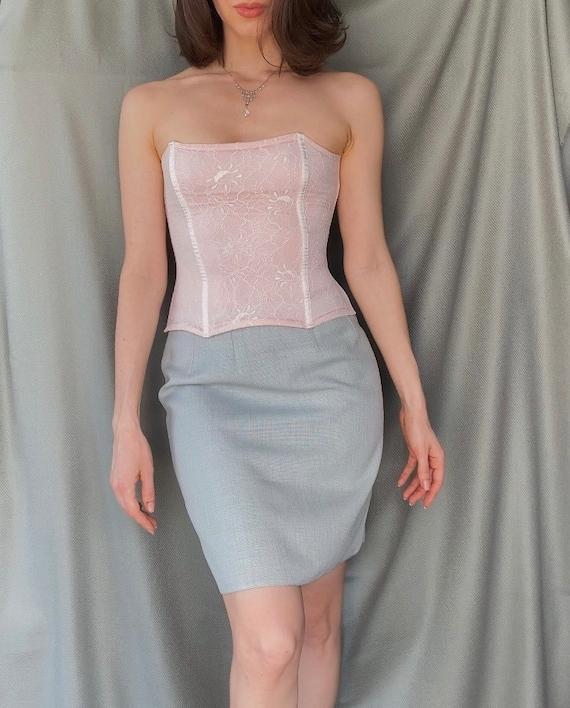 Vintage y2k romantic lace corset top XS, 00s retr… - image 1