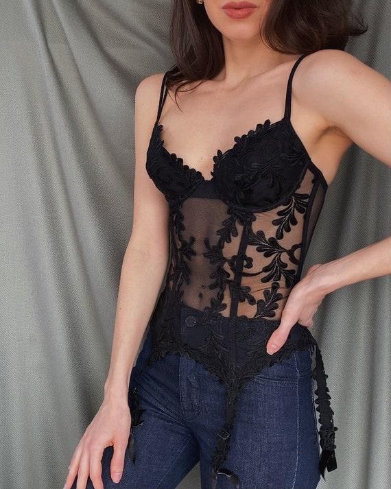 LA PERLA Vintage Bra Corset Bustier  lace size 44 Beige made in Italy