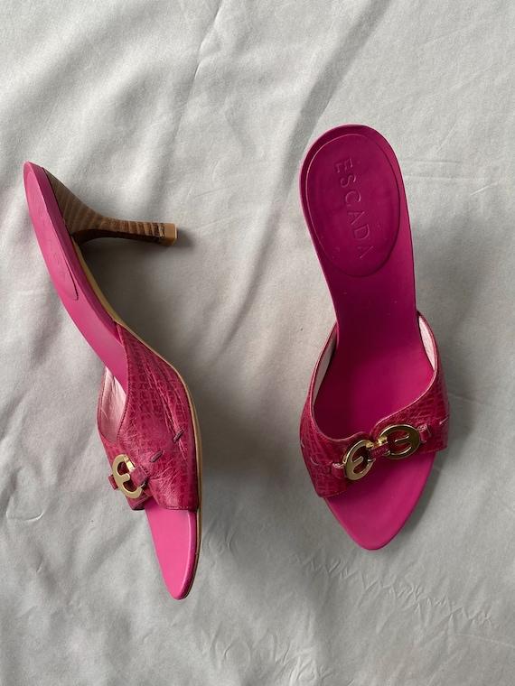 Vintage 90s ESCADA pink mules 37 size, Authentic … - image 3
