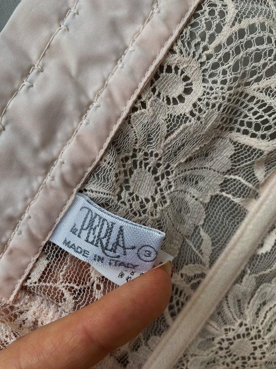 Vintage La Perla 90s light pink floral lace corse… - image 7