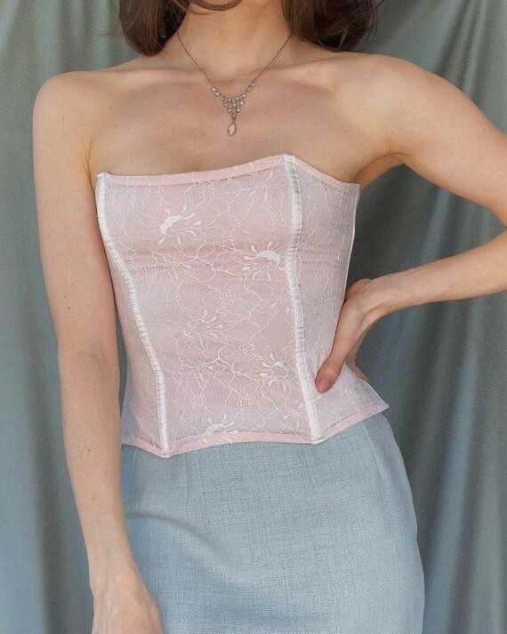 Vintage y2k romantic lace corset top XS, 00s retr… - image 2