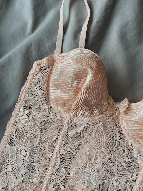 Vintage La Perla 90s light pink floral lace corse… - image 6