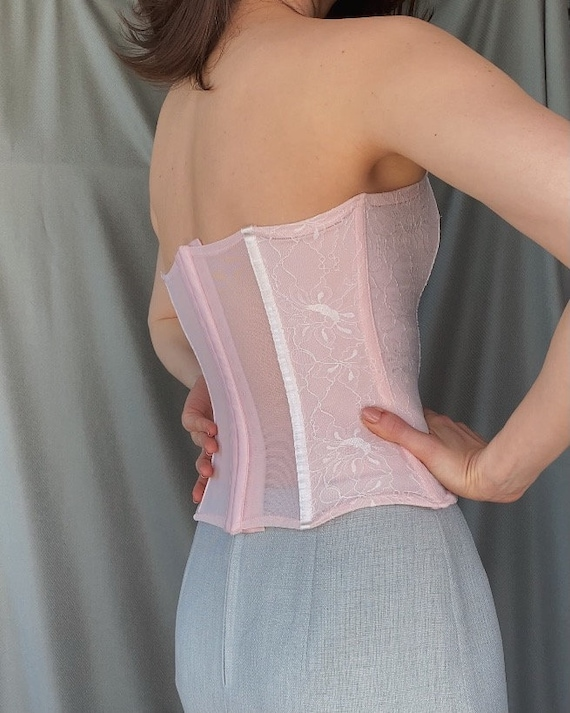 Vintage y2k romantic lace corset top XS, 00s retr… - image 5