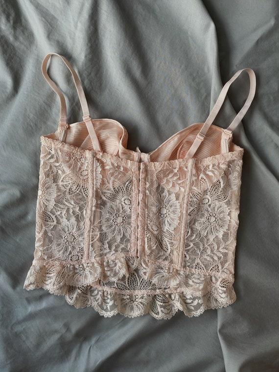Vintage La Perla 90s light pink floral lace corse… - image 3