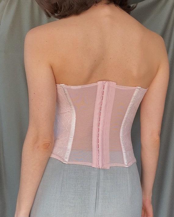 Vintage y2k romantic lace corset top XS, 00s retr… - image 4