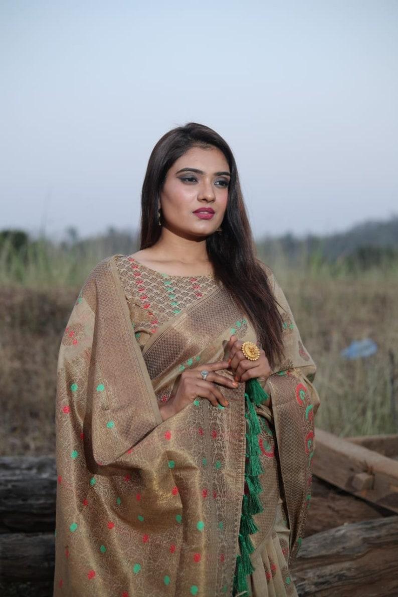 indian saree saree dress Traditional Kanchipuram Silk saree with Jacquard weaving  and blouse for women dress for women silk saree