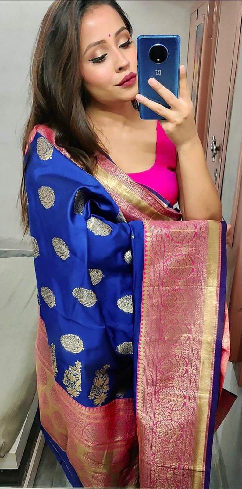 Beautiful Indian traditional soft Silk Sarees for Women Blue colour Designer Sari Party Minakari Rich Pallu Bollywood Saree with Blouse