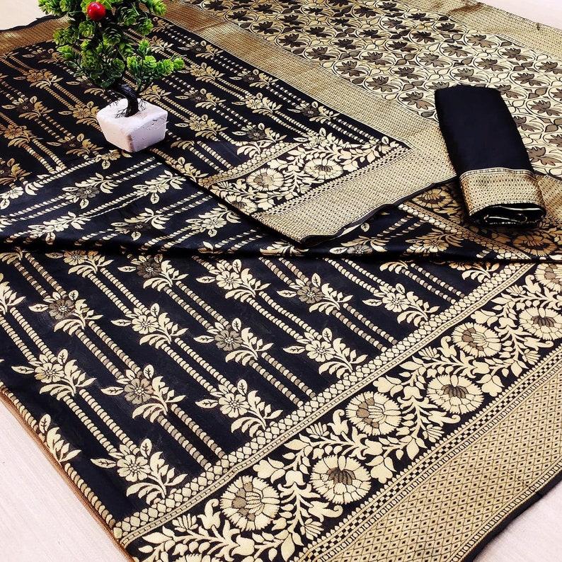 Banarasi Handloom Weaving Silk Saree With Rich Elegant Zari Wooven Rich Kanchipuram Wooven Border for women