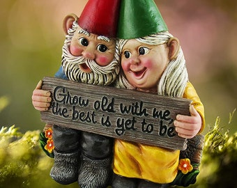 """Growing Old Together Garden Gnome Couple Collectible Figurine 5.75"""" , Anniversary Garden Patio Home Statue Decor,Mother's Day Gift"""