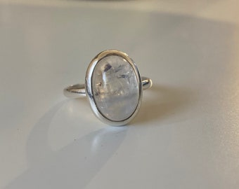 Rainbow Moonstone Ring Personalised Sterling Silver Custom Engraved Band Simple Promise Ring 3mm Natural Gemstone Cabochon