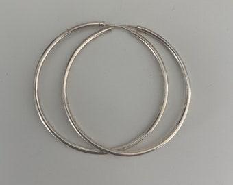 Solid sterling silver large hoop earrings