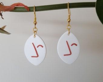 Aztec Inspired Earrings  Minimalist White Hook Earrings  Handmade Polymer Clay