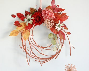 Paper flower wreath, with dahlia, hydrangea, Queen Anne's Lace, flannel flowers and fall leaves, wall art, wall decoration, hand painted.