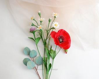 Small centerpiece with red poppy, field flowers, silver dollar eucalyptus, paper flowers, gift idea, lifelike flowers