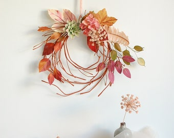 Paper flower wreath, with hydrangea, Queen Anne's Lace, paper suculent, lunaria, eucalyptus, fall leaves, wall art/decoration, hand painted.