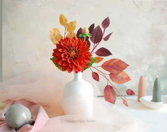 Paper dahlia centerpiece, handmade and painted, with fall inspired foliage, single stem, lifelike flowers, gift idea.