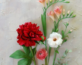 Red peony centerpiece, paper flowers, ranunculus, butterfly ranunculus and freesias, lifelike flowers, handcrafted and handpainted.