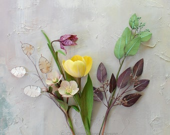 Paper flowers, small bouquet, paper tulip, paper fritillaria tulip, paper hellebores, lunaria stem and seeded eucalyptus branch, lifelike.