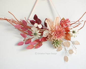 Paper flower wall hanging, dahlia, hydrangea, Queen Anne's Lace, flannel flowers, fall leaves, wall art, wall decoration, hand painted.