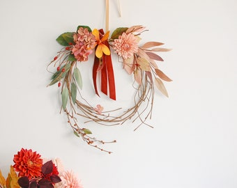 Paper Flower Wreath, autumn wreath, ideal for wall decoration, flower art, wall art, handmade paper flowers, hand painted, lovely gift idea.