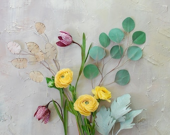 Mini paper flowers bouquet, small centerpiece, paper ranunculus and paper fritillaria tulips, eucalyptus branch, lunaria stem, dusty miller.
