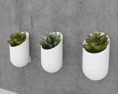 Modern cylindrical planter with integrated drip catcher, wall mounted , 3d printed - comes in various colors Made in Canada