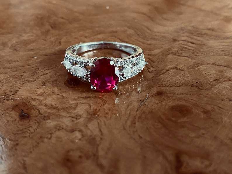 Sterling Silver Oval 9x7 Lab Created Ruby /& Marquise-Round White sapphire Ring in Size 7 Fashion Gemstone Ring Promise Ring Ruby Ring