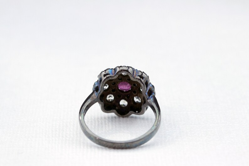 Genuine Zircon Flower Ring with Black Rhodium Sterling Silver Vintage Ring  Size 5 7,8,9 6 Vintage Art Deco style Ruby,Black Spinel