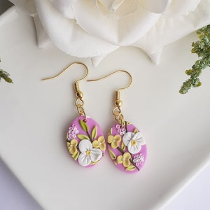 Flower Statement Earrings Floral Mexican Earrings Spring Wreaths earrings Gift Colorful Black Frida Statement Earrings Frida Earrings