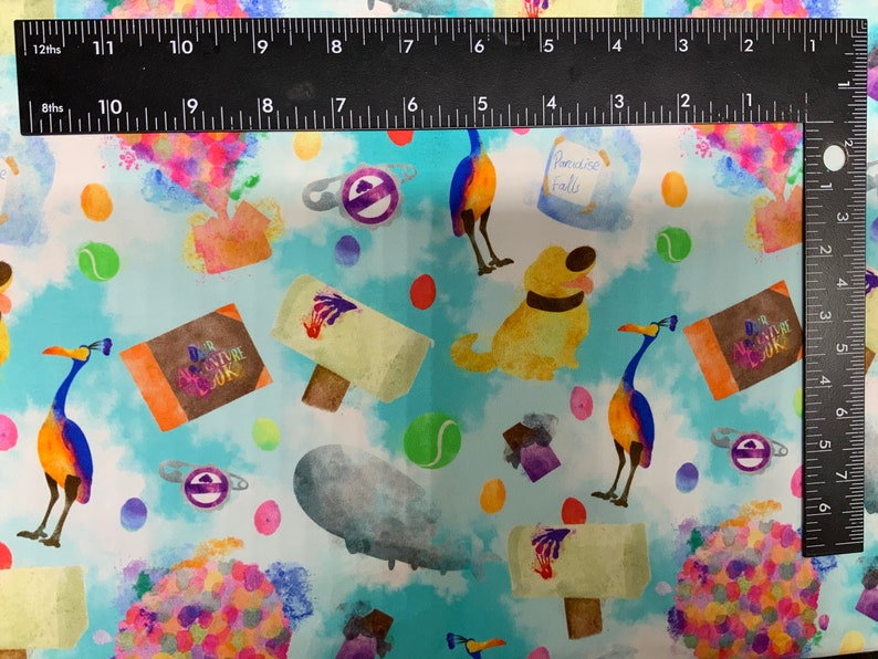 Disney Up Adventure is Out There Tumbler Cut Cotton Lycra Fabric 9L x 14W