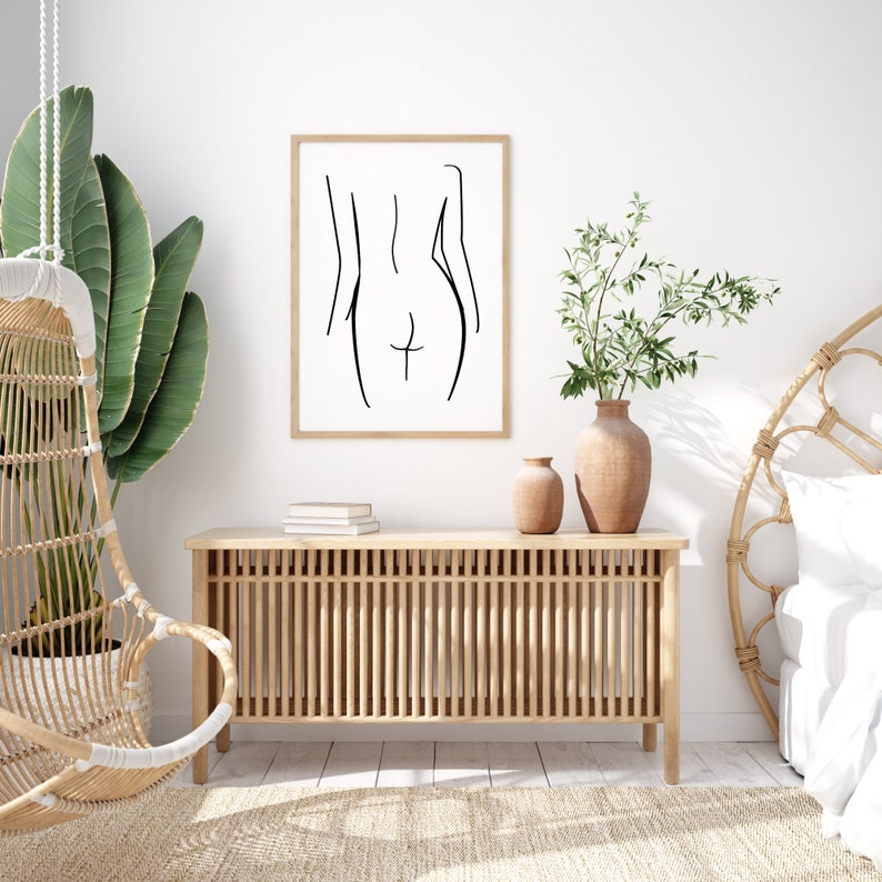 Digital Download Woman Silhouette Line Art Printable Wall Art Female Body Line Drawing Female Nude Poster