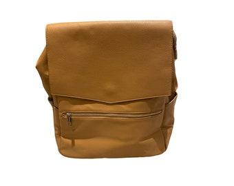 Luxury Tan PU Leather Baby Changing Bag