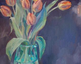 Orange tulips, original oil painting