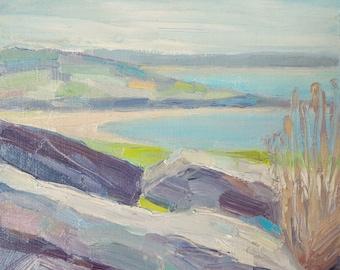 Dry stone wall, Cornish coast, oil painting