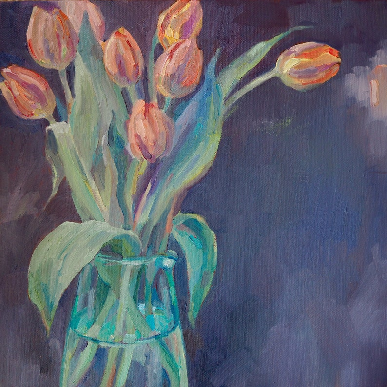 Orange tulips original oil painting image 0
