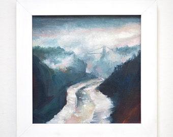 Avon Gorge, Bristol, morning mist, original framed oil painting