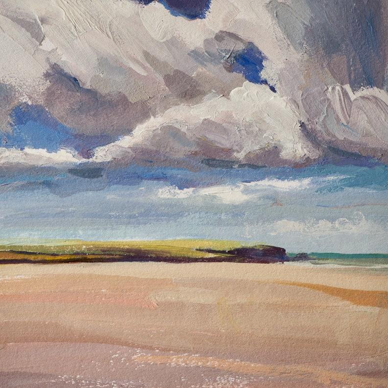 Cornish beach with clouds Original painting image 0