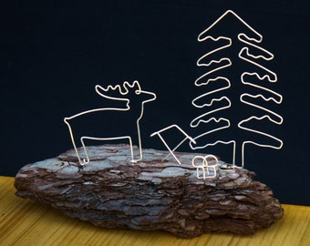 Forest motif made of silver wire on bark. Fully assembled.