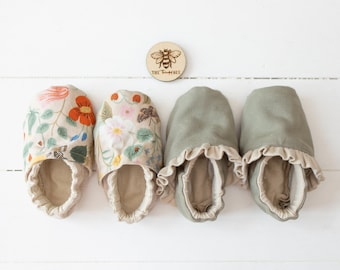 Moccasins | Made to Order | Handmade shoes for babies and toddlers | Cotton Spandex, French Terry
