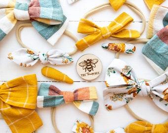 Autumn Floral Bow Collection | handmade cotton bows | nylon or alligator clip