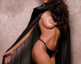 Extreme Black Burlesque Sheer Mesh See Through Tulle Fantasy Sexy Goddess Cape