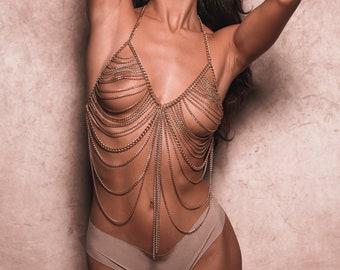 Gold Body Chain, Body Jewelry, Sexy Body Jewelry, festival body jewelry, Fashion Body Jewelry