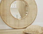 Boho rattan decorative round wall mirror Mirror wall decor for bedroom or living room