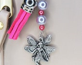 With Limited Elastic Heart, Fairy Charm Keychain with Pearl Beads and Pink Tassel